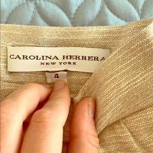 Carolina Herrera Pencil Skirt Tweed Cream Gold